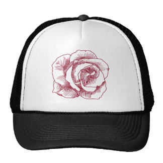 Red Rose Line Drawing Trucker Hat