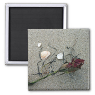 Red Rose Lost at Sea Square Magnet