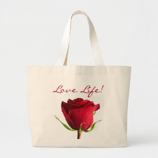 Red Rose Love Life Canvas Jumbo Tote Bag