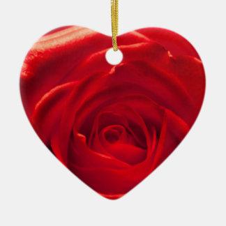 Red rose macro admission ceramic heart decoration