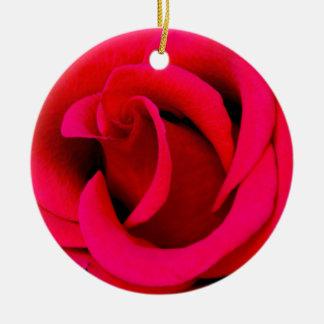 Red Rose macro Round Ceramic Decoration