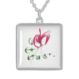 Red Rose Medium Sterling Silver Square Necklace