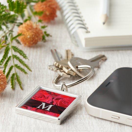 Red Rose Monogram Key Ring
