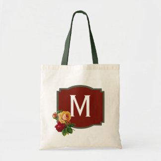 Red Rose Monogram Tote Bag