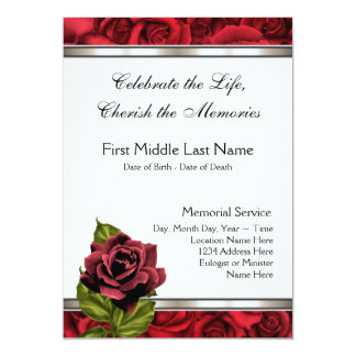 "Red Rose Mourning Card Funeral Announcement 5"" X 7"" Invitation Card"