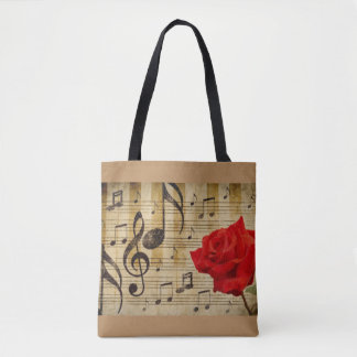 Red Rose Music Notes Tote Bag