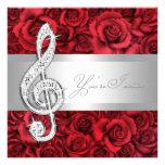 Red Rose Music Treble Clef Recital Invitations