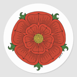 Red Rose of Lancaster Round Sticker