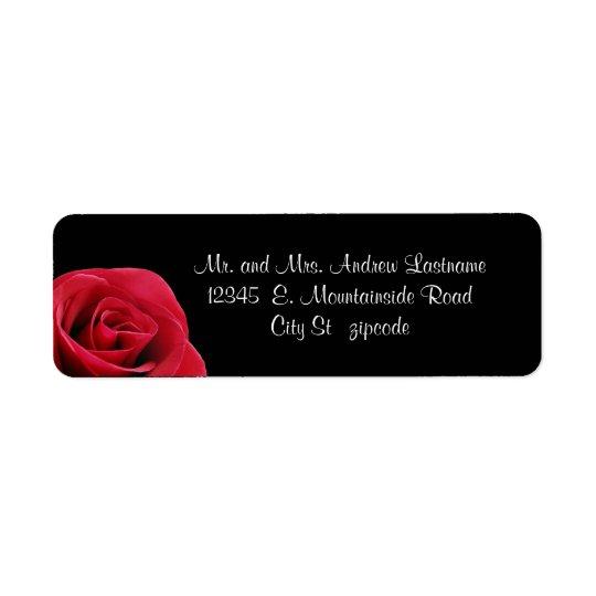 red rose on black address labels
