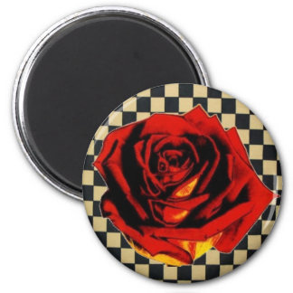 Red Rose on Black and Beige Check 6 Cm Round Magnet