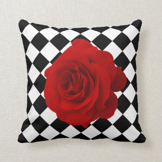 Red Rose on Black and White Diamond Pattern Cushion