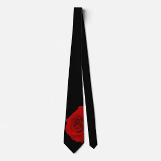 Red Rose on Black Background Tie