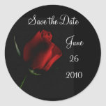 Red Rose on Black-customise it Round Sticker