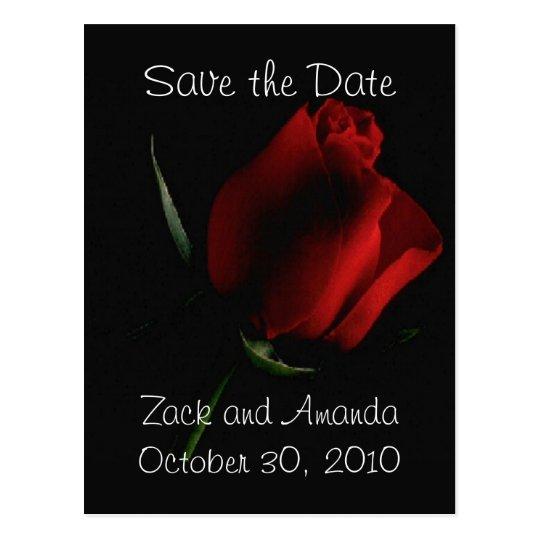 Red Rose on Black- invitation Postcard