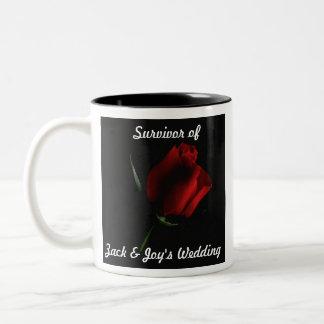 Red Rose on Black Two-Tone Coffee Mug