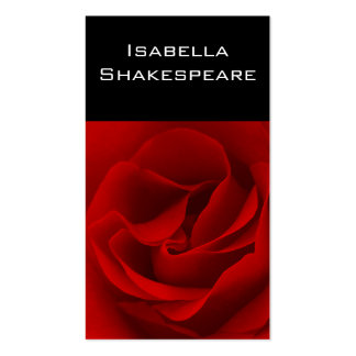 Red Rose on Black Pack Of Standard Business Cards