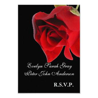 Red rose on black rsvp wedding card