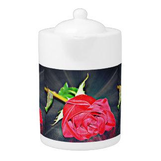 Red Rose on Black Tea Pot
