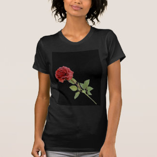 Red Rose on Black Tee Shirts