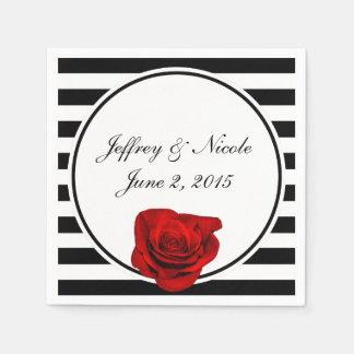 Red Rose on Black & White Stripes Wedding Paper Serviettes