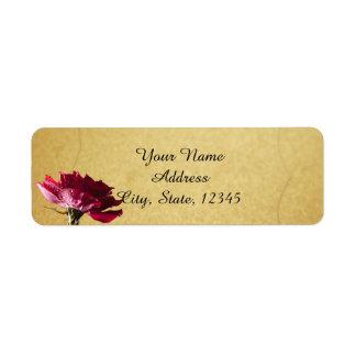 Red Rose on Gold Wedding Return Address Label