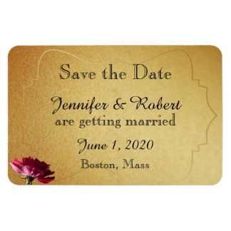 Red Rose on Gold Wedding Save the Date Vinyl Magnets