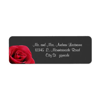 red rose on grey address labels