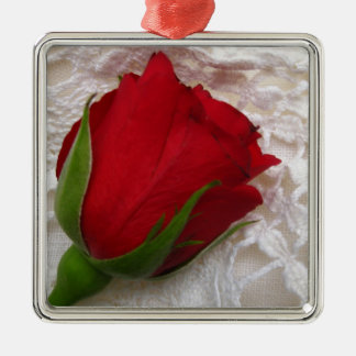 red rose on lace, premium ornament