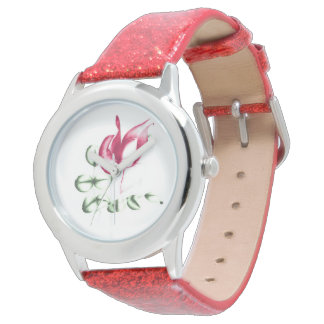 Red Rose on Red Glitter Watch