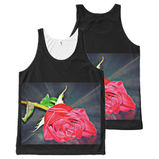 Red Rose on Table Unisex Tank Top