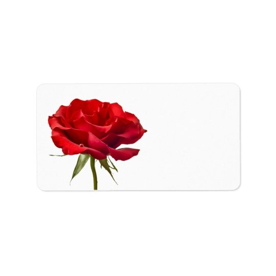 Red Rose on White - Customised Roses Template Address Label