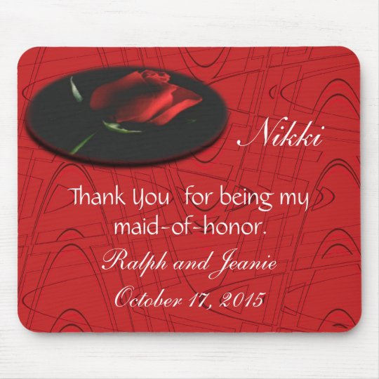 Red Rose onBlkGraphic,customise Mouse Mat