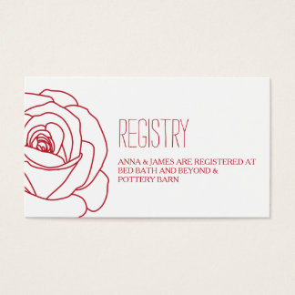 Red Rose Outline Wedding Registry Card