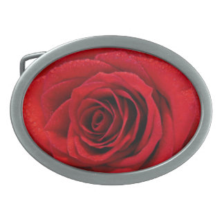 Red Rose Oval Belt Buckles