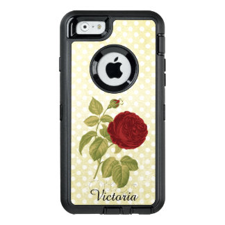 Red Rose Parchment Polka Dots Antique Custom Name OtterBox iPhone 6/6s Case