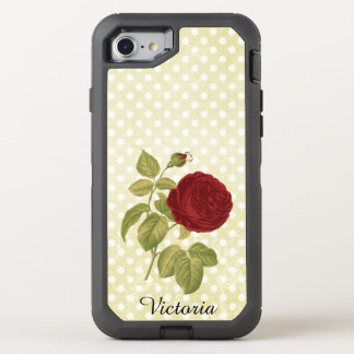 Red Rose Parchment Polka Dots Antique Name OtterBox Defender iPhone 8/7 Case