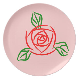 Red Rose Party Plate