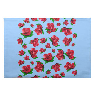 Red Rose Pattern Blue Placemats