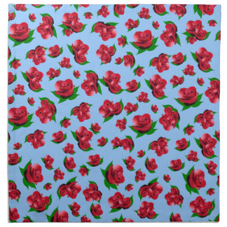 Red Rose Pattern - Blue Serviettes Napkin