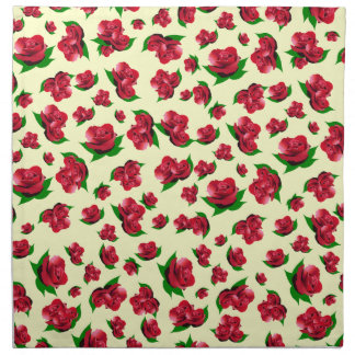 Red Rose Pattern - Cream Serviettes Napkin