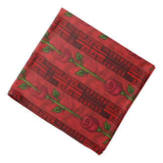 Red Rose pattern fun Bandana