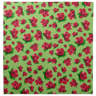 Red Rose Pattern - Green Serviette set Napkin