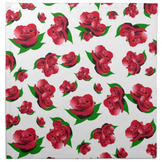 Red Rose Pattern Napkin