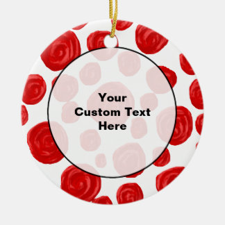 Red Rose Pattern on White. Christmas Ornament