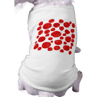 Red Rose Pattern. Sleeveless Dog Shirt