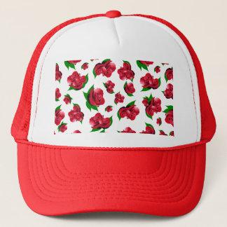 Red Rose Pattern Trucker Hat