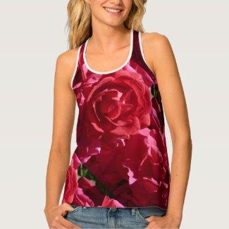 Red Rose Pattern Women's PAO Racerback Tank Top