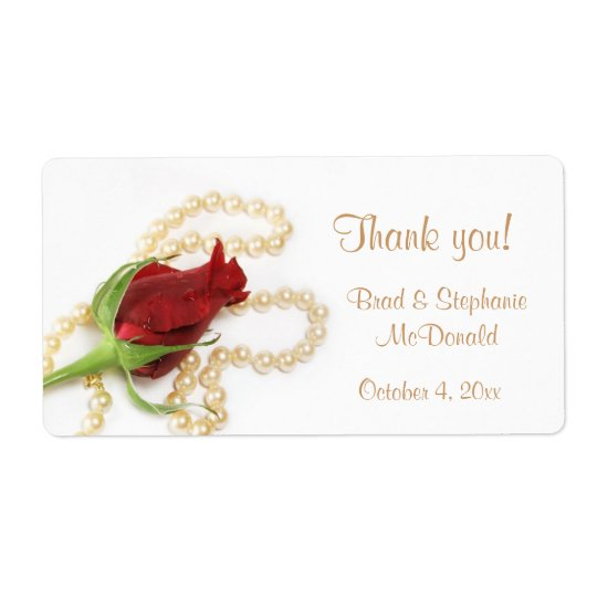 Red Rose Pearls Label Shipping Label