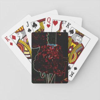 Red rose petal lamp card poker deck