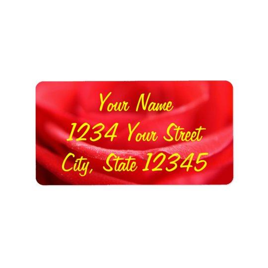 Red Rose Petals Address Label